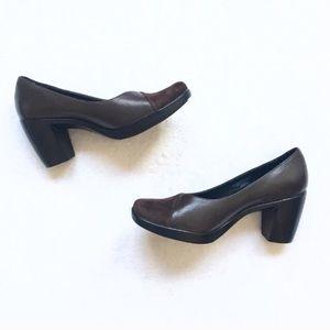 New Dankso Leather & Suede Brown Block Heels Tutti